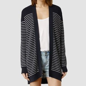 All Saints Navy & White Stripe Plex Cardigan